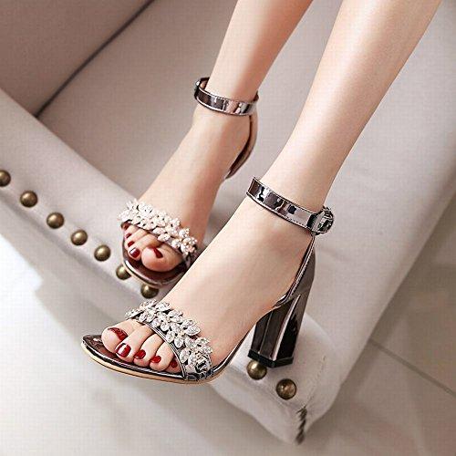 Carolbar Womens Ankle-Strap Buckle Rhinestones Open Toe High Heel Sandals Metal-grey 1kB1Mqr