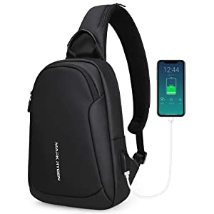 "Mark Ryden Anti-theft Sling Chest Bag Small Handbag for Men,Waterproof Crossbody Travel Shoulder Bag Fit for 9.7"" ipad (Black-new)"