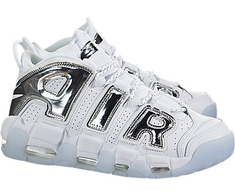 NIKE Women's Air More Uptempo White/Chrome Blue Tint Basketball Shoe 9 Women US