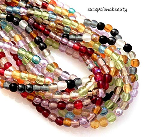 500 Preciosa Assorted 4mm Round Druk Bulk Czech Glass Spacer Beads ()