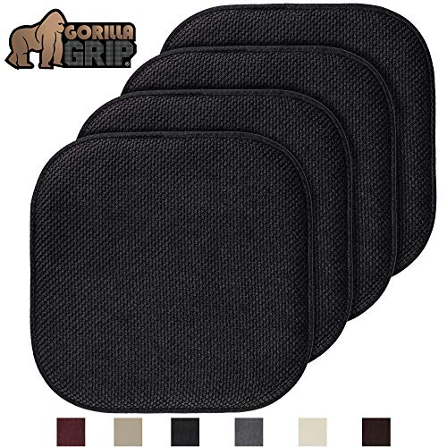 Gorilla Grip Original Premium Memory Foam Chair Cushions, 4 Pack, 16×16 Inch, Thick Comfortable Seat Cushion Pad, Large Size, Slip Resistant, Durable Soft Mat Pads for Office, Kitchen Chairs, Black