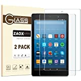All-New Fire HD 8 Screen Protector, ZAOX [9H Hardness] [Bubble Free] Tempered Glass Screen Protector for Amazon Kindle Fire HD 8 Tablet Film (2017 and 2016 Model) (2 PACK)