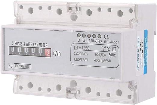 Yosoo Health Gear Medidor de energía eléctrica, 220/380V 20-80A Medidor de energía Digital Consumo de energía Medidor de KWh trifásico