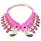 EVER FAITH Gold-Tone Austrian Crystal Vintage Style 2 Flamingo Statement Choker Necklace Pink