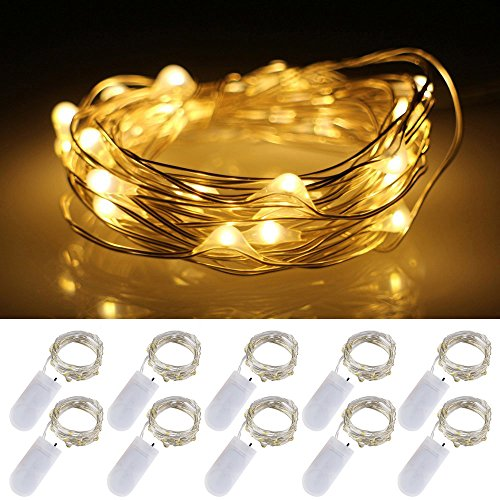 LXS Battery Operated Fairy Lights 10 Sets of 2M /20 LED,Amazingly Bright - Ultra-Thin Flexible Easy to Wrap Silver Wire for Halloween Christmas Wedding Party,Fairy Light Effect(10PCS-Warm White)
