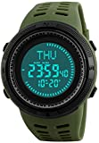 Men's Outdoor Survival Sports Digital Led Watches With Compass 5ATM Water Countdown 3 Alarm Stopwatch (Army Green)