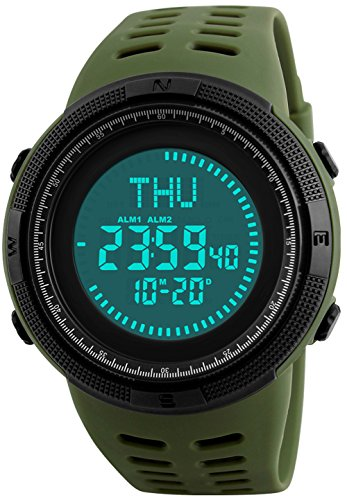 Men's Outdoor Survival Sports Digital Led Watches With Compass 5ATM Water Countdown 3 Alarm Stopwatch (Army Green) (Chrono Watch Toy Watch Sport)