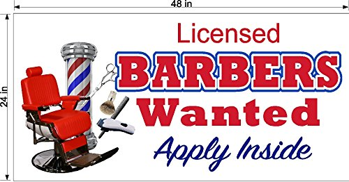 2' X 4' VINYL BANNER LICENSED BARBER WANTED HAIR STYLIST BEAUTY HELP WANTED EMPLOYMENT SIGN