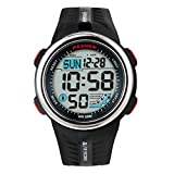 Teenagers Sport Watch | Multifunctional Wrist Clock | Digital Display | 5ATM Waterproof| EL Backlight | Stopwatch | Chronograph | 3 Alarms | Chime | PU Strap for Boys Girls