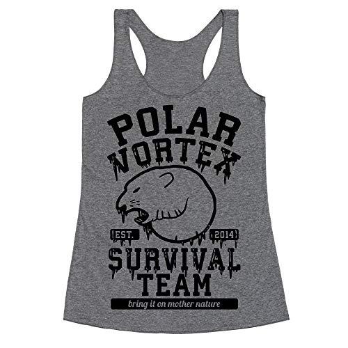 LookHUMAN Polar Vortex Survival Team Medium Heathered Gray Women's Racerback Tank (Vortex Bell Top)