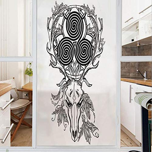 Decorative Window Film,No Glue Frosted Privacy Film,Stained Glass Door Film,Deer Skull with Native American Ethnic Feather and Celtic Spiral on the Horns Boho,for Home & Office,23.6In. by 59In Black W
