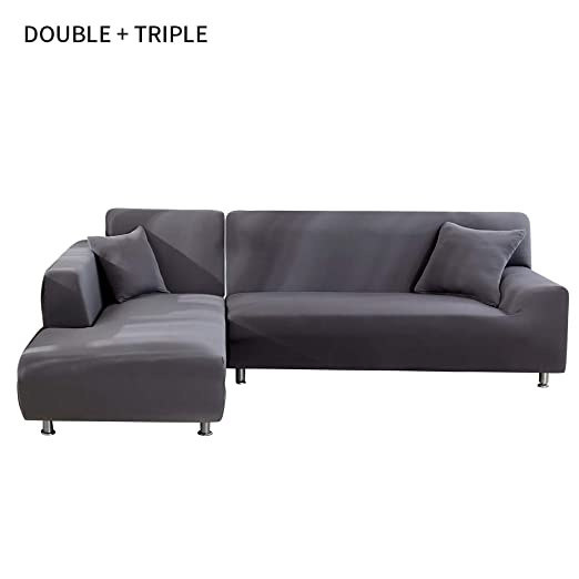 SearchI Funda Sofá Chaise Longue Brazo Izquierdo Elástico Cubre Sofa Protector para Sofá en Forma de L Acolchado Brazo Izquierdo (Gris,2 Plazas +3 ...