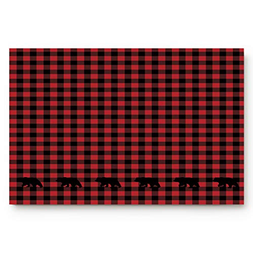 Savannan Indoor Welcome Entrance Door Mats Entry Areas Bathmat Kitchen Bathroom Backing Non Slip Thin Shoes Rugs,Buffalo Check Plaid Bear Applique 18 by 30-Inch