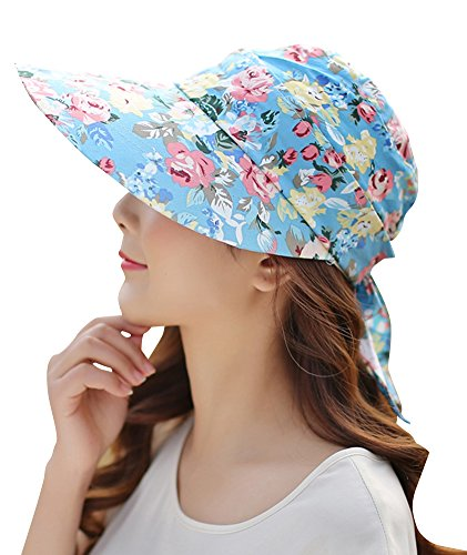 EachWell 2in1 Women Wide Brim Summer Beach Sun Hat Detachable UV Protective Floral Visor Cap Color - Visor Floral