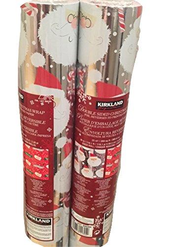 - Kirkland Christmas Santa Double Sided Foil Gift Wrap 2 Pack