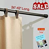 "RV Expandable Shower Curtain Rod 26""-42"" Long Twist to Extend Strong Durable Non Slip Foots Perfect for RV and Home, Modern Tools and Accessories (Bronze) & Free Ebook by Stock4All"