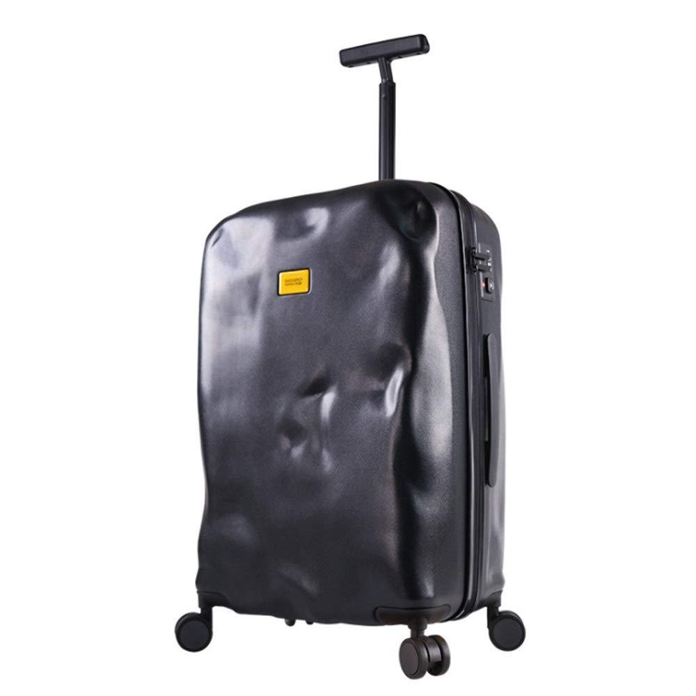 大容量スーツケース 20インチ24インチパーソナリティ軽量キャリーオンアップライトスーツケース破損スタイルスピナートラベル荷物トロリーケース荷物(TSAロック付き)ハードシェル360°サイレント多方向ホイールスーツケース 軽量かつ低騒音 (色 : ブラック, サイズ : 24inches) B07RBRQGZ7 ブラック 24inches
