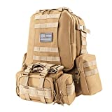 VINGLI Tactical Backpack Military, Outdoor Survival Rucksack Bug Out Bag Assault Backpack for Hiking Trekking Travelling Hunting Climbing Camping, Large Capacity 50L/40L (50L Khaki)