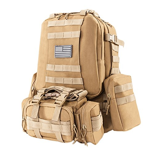 Z ZTDM 50L Outdoor Tactical Molle Backpack 3 Day Assault Pack Military Rucksacks,Bug Out Bag for School Traveling Camping Hiking Trekking,900D Waterproof Upgrade (50L Tan)