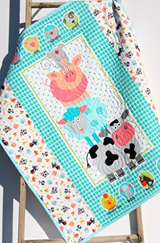 Farm Animals Baby Quilt, Baby Nursery Blanket, Pig Horse Cow
