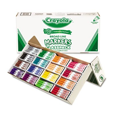 Non-Washable Classpack Markers, Broad Point, 16 Assorted Colors, 256/Box, Sold as 1 Box
