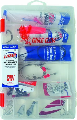 Lazer Sharp Pier/Jetty Saltwater Tackle Kit, 30 pieces, plus reusable plastic fishing box ()