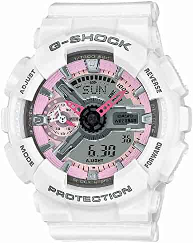 Casio G-Shock Pink and Gray Dial White Resin Quartz Ladies Watch GMAS110MP-7A
