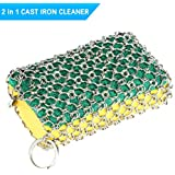 Idefair Cast Iron Cleaner,Stainless Steel Chainmail Scrubber with Wood Sponges for Skillet, Pot, Pan, Wok, BBQ, Better Grip Design, Oil Free Cookware Scraper for Home and Camping
