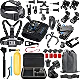 SmilePowo 48-in-1 Accessory Kit for GoPro Hero7,6,5,4 Black,Hero Session, Hero 2018,Hero3,3+,2,1,DBPOWER,AKASO ,SJ4000,5000,6000,XIAOMI 1,2,Carrying Case,Chest Strap,Sports Camera Accessories