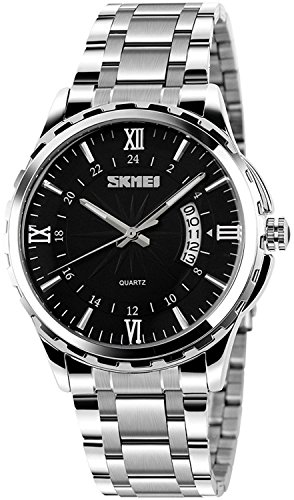 Black Dial Silver Bracelet (Fanmis Luminous Black Dial Silver Stainless Steel Bracelet Analog Quartz Watch)