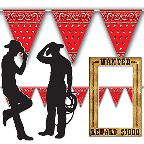 Western Cowboy Decorations | Cowboy Silhouette Props (2 count), Wanted Poster Photo Prop, and Red Bandanna Pennant Banner (12' long) | Great for parties, bulletin boards and photo - Taylor Supplies Party Swift