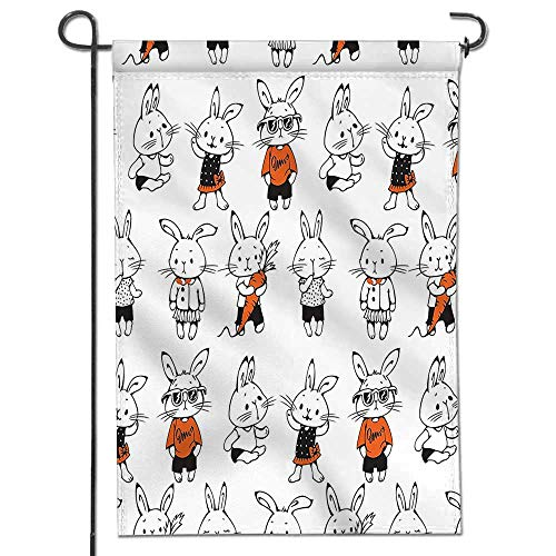 Mikihome Celebrate Patriotic Garden Flag Cute Retro Bunny Rabbits with Costumes Jack Hare Funky Bunnies Carrot Sketch Style Decorative Double Sided Flag for Anniversary Decor -