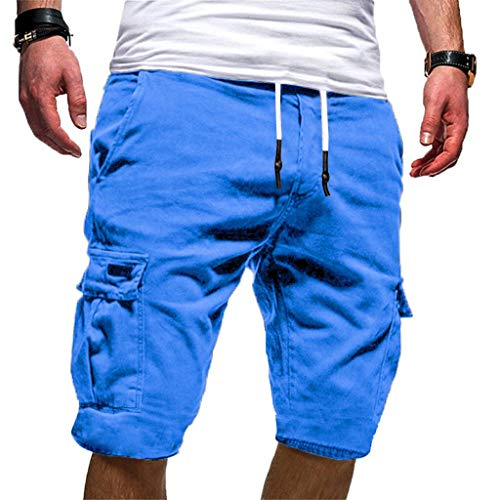 - Men's Casual Gym Slim Drawstring Shorts Loose Summer Thin Fit Tracksuit Bottoms Skinny Joggers Sweat Short Track Pants Blue