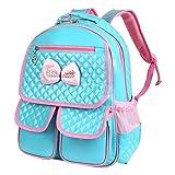 Vbiger Casual School Bag Children School Kids Backpacks for Girls (Blue-Bow tie)