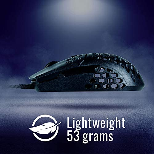 Cooler Master MM710 53G Gaming Mouse with Lightweight Honeycomb Shell, Ultralight Ultraweave Cable, Pixart 3389 16000 DPI Optical Sensor