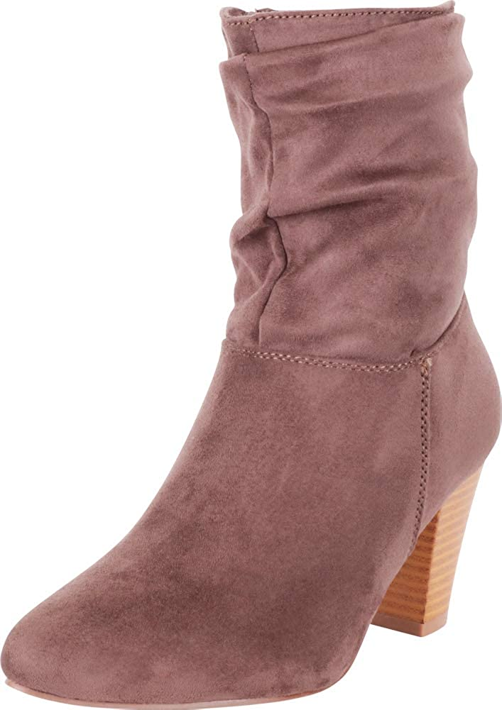 Mocha Imsu Cambridge Select Women's Pointed Toe Ruched Slouch Chunky Stacked Heel Ankle Boot
