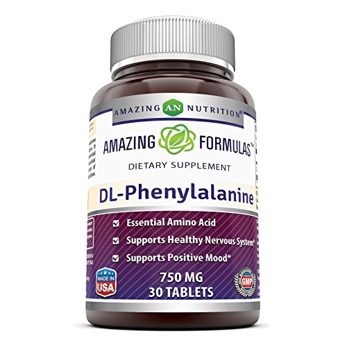 Amazing Nutrition Amazing Formulas DL-Phenylalanine Dietary Supplement - 750 mg - 30 Tablets - Supports Healthy Nervous System - Promotes Positive Mood