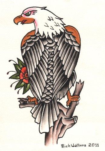 Eagle American Flag Tattoo - Standing Eagle by Rick Walters Old School American Tattoo Framed Wall Art Print