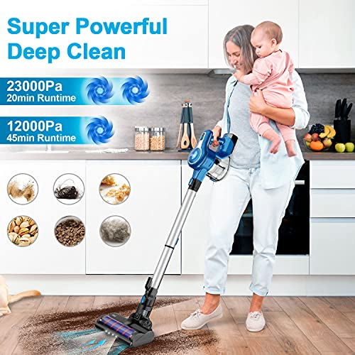 INSE Cordless Vacuum Cleaner, 23Kpa 250W Brushless Motor Stick Vacuum, Up to 45 Mins Max Runtime 2500mAh Rechargeable Battery, 10-in-1 Lightweight Vacuum for Carpet Hard Floor Car Pet Hair, Blue- S6