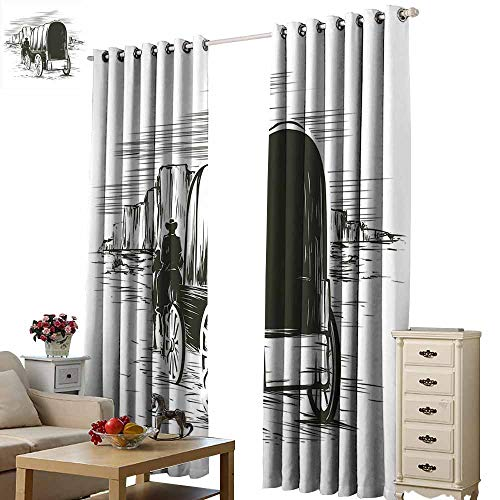 (S Brave Sky Thermal Insulating Blackout Curtain,Single-Sided Printing Pattern W108 xL84,Suitable for Bedroom Living Room Study, etc.)