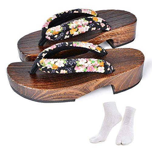 Japanese Wooden Clogs Sandals Japan Traditional Shoes Geta With Tabi Socks For Women (US 6-7 / - Japanese Kimono Women