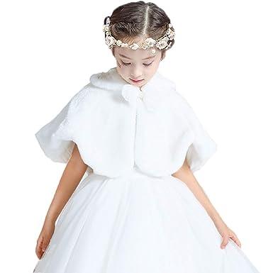 b4d7865e80d1 Flowers Girls Faux Fur Shrug Shoulder Cape Wedding Bridesmaid Tippet ...
