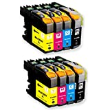 O'Image 8-Pack LC201 LC203 LC203XL Ink Cartridge Replacing for Brother MFC-J460DW J480DW J485DW J680DW J880DW J885DW J4320DW J4420DW J4620DW J460DW J5520DW J5620W J5720DW Series Printer (8-Pack: 2K.2C.2M.2Y)