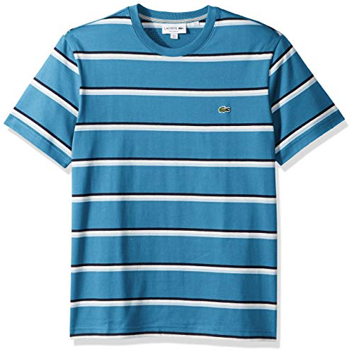 Lacoste Men's Short Sleeve Striped Jersey T-Shirt, Ibiza/Creek/White/Navy Blue, - T-shirt Striped Jersey