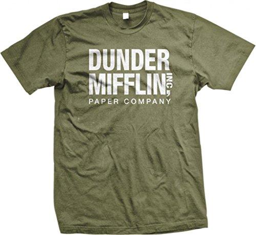 (Dunder Mifflin Paper Inc T-Shirt, The Office T-Shirts, TV Show T-Shirts, Military, 2XL)