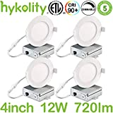 Hykolity 12W 4 Inch LED Slim Recessed Ceiling Light, Low Profile Downlight with Juction Box Dimmable, 720lm CRI90, 4000K Neutral White, ETL& Energy Star Listed 4 Pack