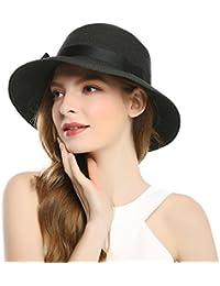 Sun Hat Beach Straw Hat - Womens Wide Brim Braided Bow Outdoor Summer Sun Hat