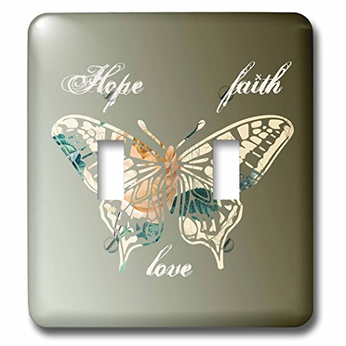 3dRose lsp_155872_2 Hope, Faith and Love Gold Butterfly Inspirational Art Double Toggle Switch
