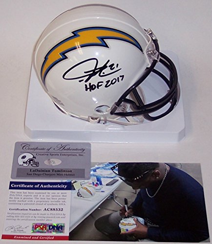 Ladainian Tomlinson Autographed Hand Signed San Diego Chargers Mini Football Helmet - with HOF 2017 Inscription - PSA/DNA ()