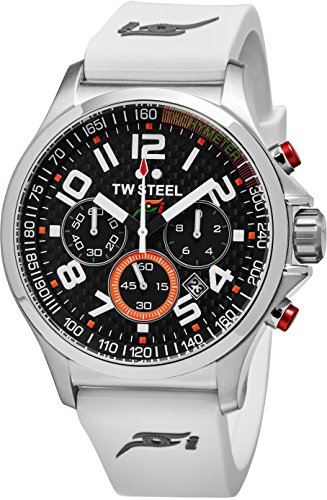 TW Steel Sahara Force India Watch - Stainless Steel Black Carbon Fiber Dial Date TW Steel Watch Mens - White Silicone Rubber Band 45mm Chronograph Watch TW428